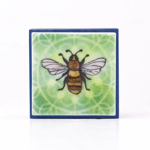 "Fused Glass Art, Bee with Green Highlights, 3"" x 3 """