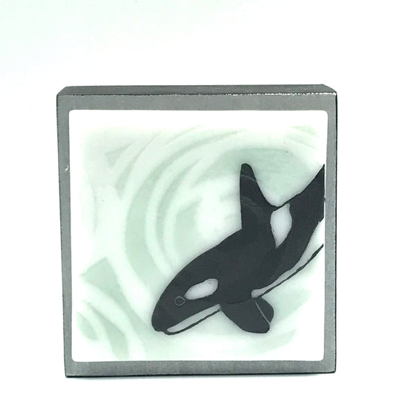 "Fused Glass Art, Orca, 3"" x 3 """