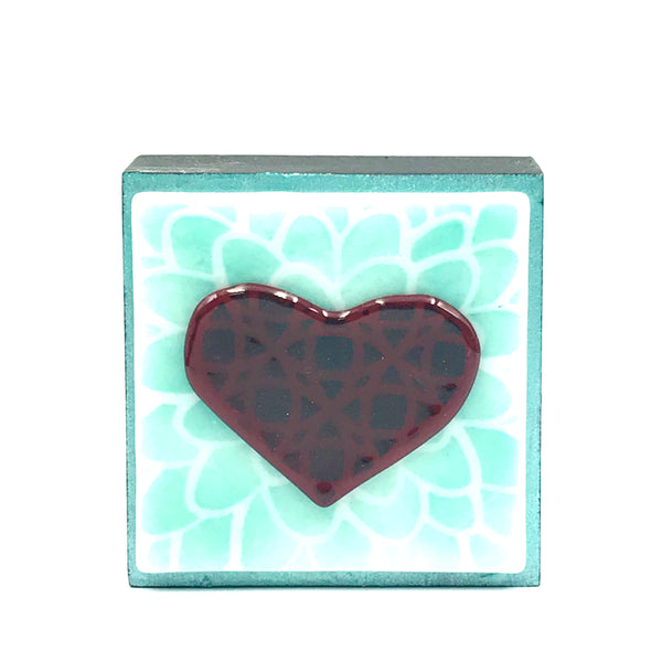 "Fused Glass Art, Heart with Turquoise Highlights, 3"" x 3 """