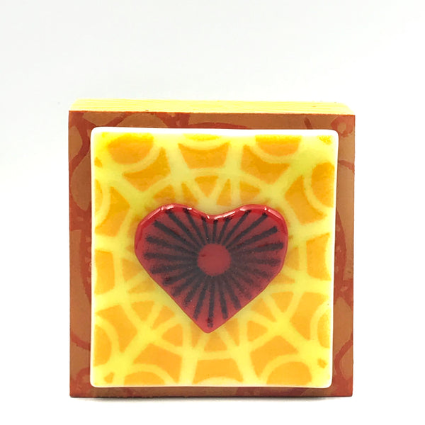 "Fused Glass Art, Heart with Yellow Highlights, 3"" x 3 """