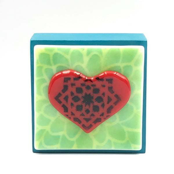 "Fused Glass Art, Heart with Green Highlights, 3"" x 3 """
