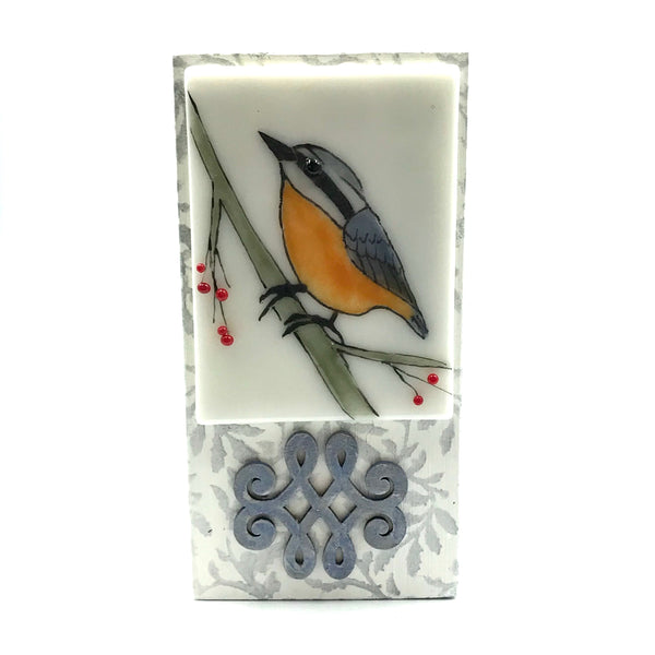 "Fused Glass Art, Nuthatch, 3"" x 6 """