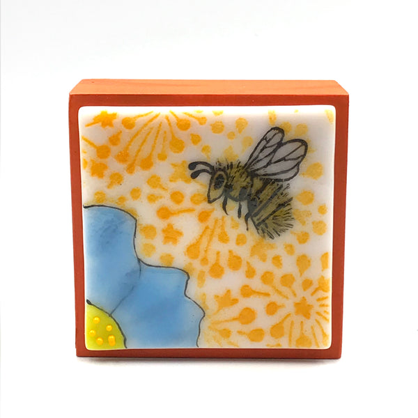 "Fused Glass Art, Bee with Blue Flower, 3"" x 3 """