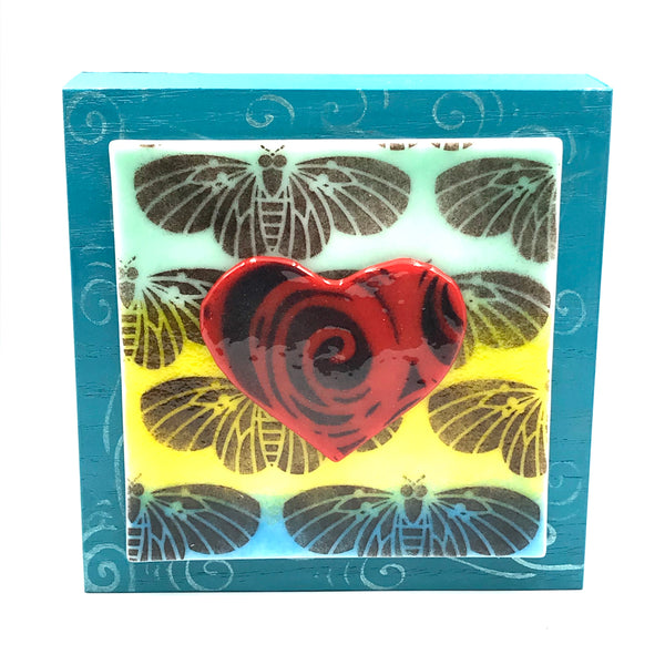 "Fused Glass Art, Heart with Butterflies, 6"" x 6 """
