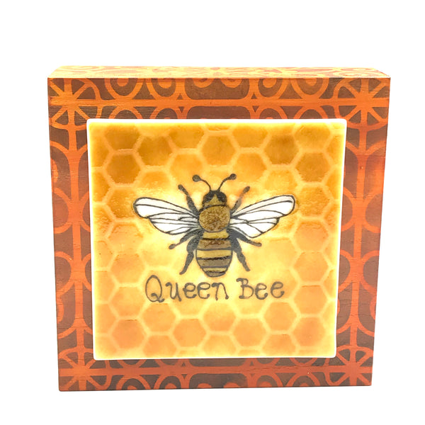 "Fused Glass Art, Queen Bee, 6"" x 6 """
