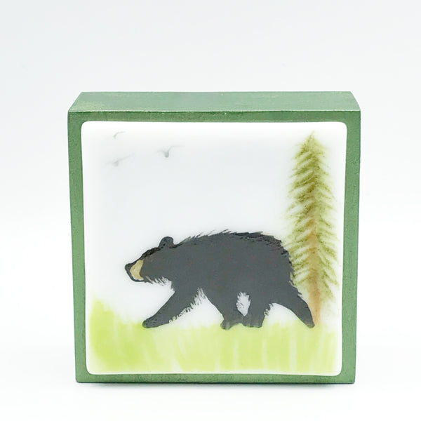 "Fused Glass Art, Black Bear, 3"" x 3 """
