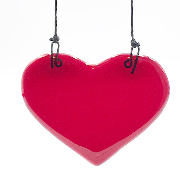Fused Glass Art, Red Heart on a Cord
