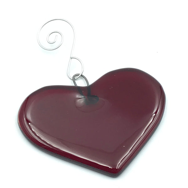 Fused Glass Art, Small Red Heart