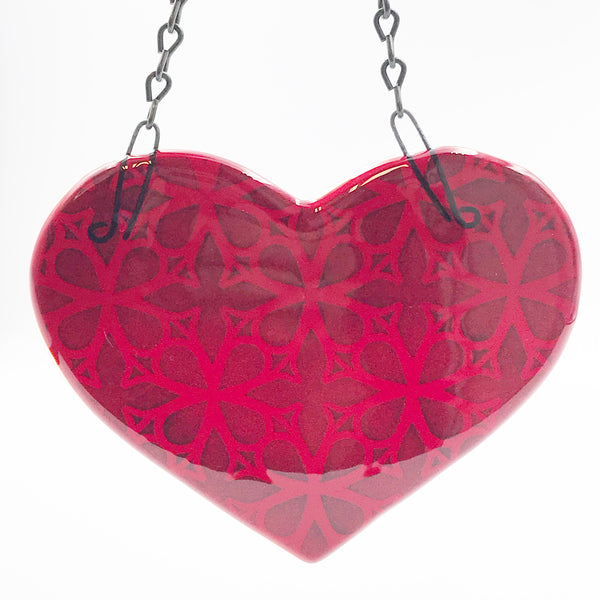 Fused Glass Art, Large Red Heart on a Chain