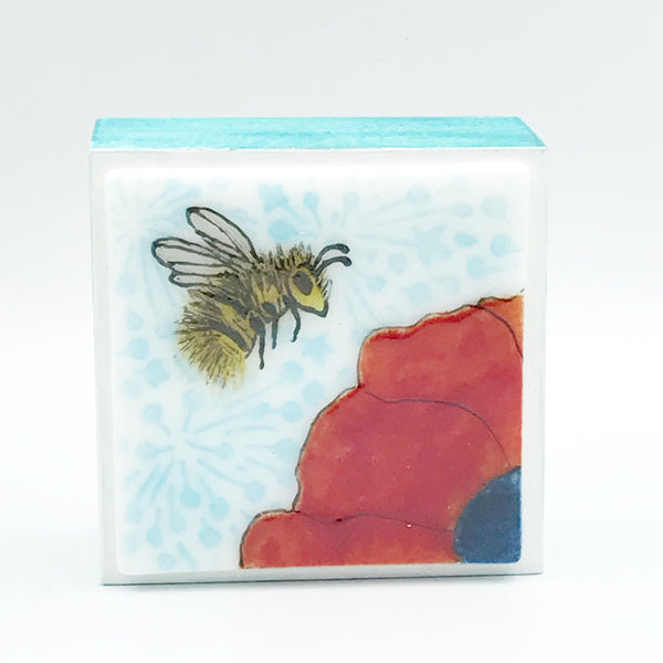 "Fused Glass Art, Bee with Red Flower, 3"" x 3 """