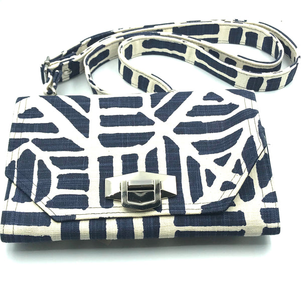 Navy and Cream Clutch Vegan Purse with Strap