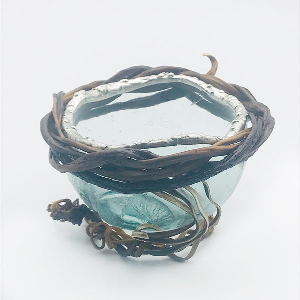 Fishing Float Candle Holder Bowl with Silver and Kelp Accents