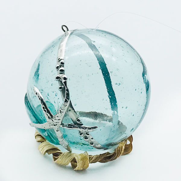 Glass fishing float ball hanging with sea star 3 inches diameter
