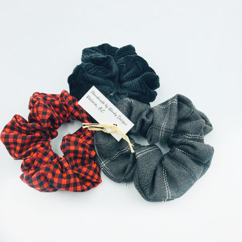 Hair Scrunchie Sets, Plaid, Black and Red & Black