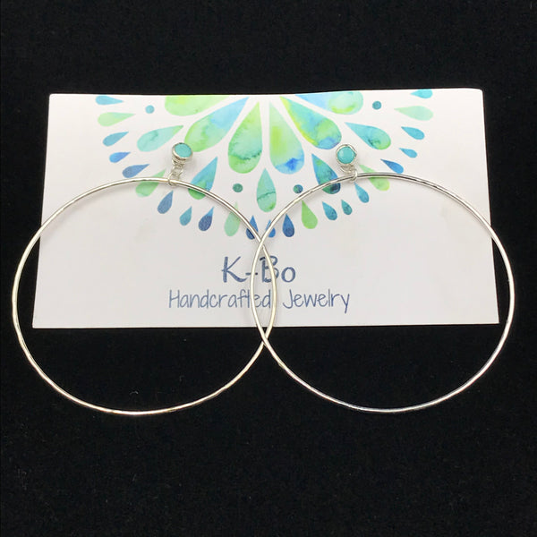 Sterling Silver Two in One Small Turquoise Stud and Hoop Earrings