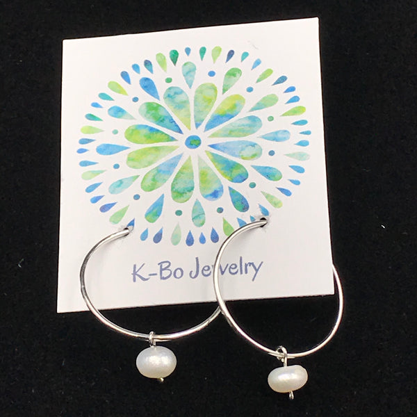Sterling Silver Small Hoop Earrings with White Pearl Design
