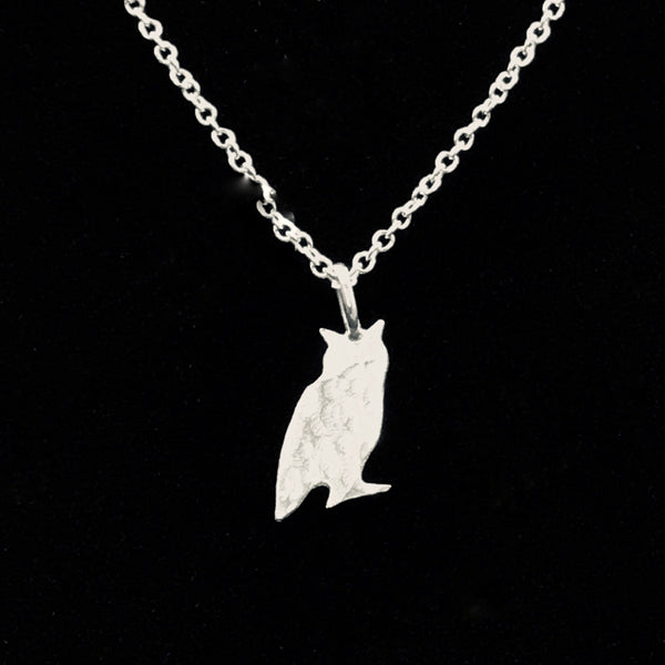 Sterling Silver Small Owl Pendant Necklace