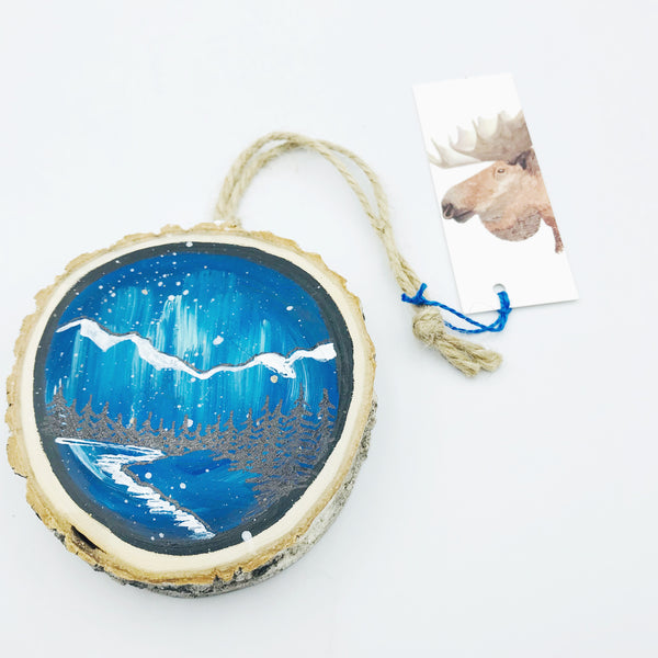 Hand-painted West Coast Wooden Ornament, Northern Lights