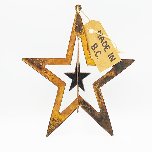 3D Rusted Steel Hanging Star 7 1/2 inches