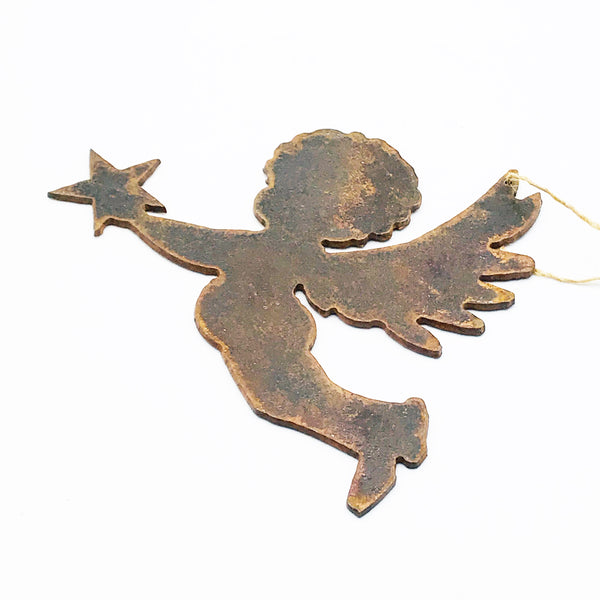 Rusted Steel Hanging Cherub 5  x 3 1/4 inches