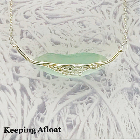 Fishing Float Glass with Silver Bubble Pendant Necklace