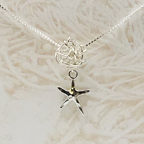 Sterling Silver Tangled Sea Star Pendant Necklace