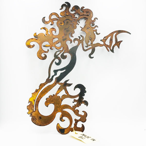 Rusted Steel Mermaid Wall Hanging 12 inches