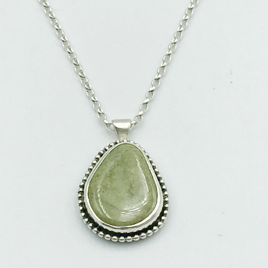 Sterling Silver Pear Shaped Beach Stone Pendant Necklace