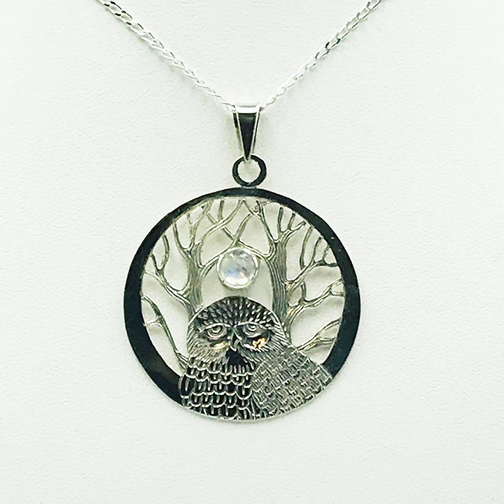 Sterling Silver Owl with Tree in a Circle with Moonstone Pendant Necklace