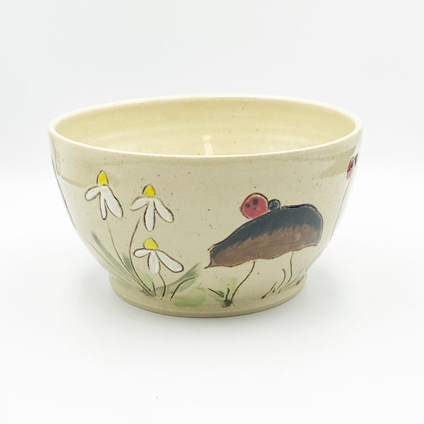 Small Ceramic Bowl with Brown Mushrooms, Flowers and Lady Bugs