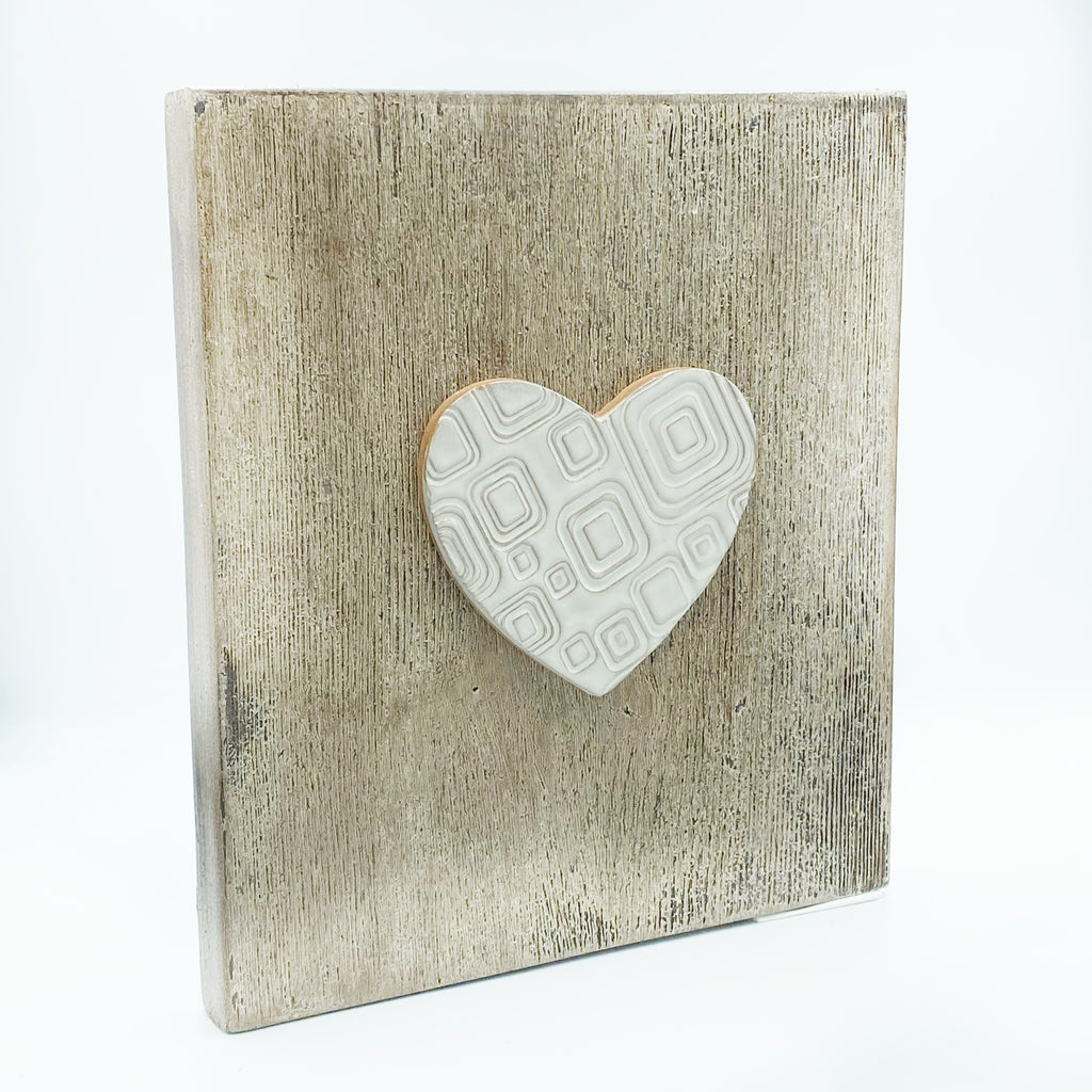 Large Wooden Frames by Sonia Lesage Ceramics, Heart with Squares