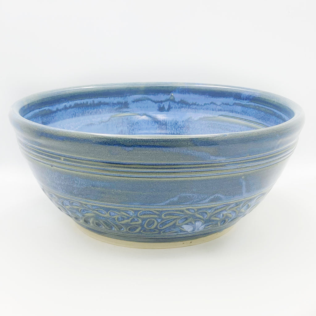 Powell River Blue Ceramic Large Serving Bowl
