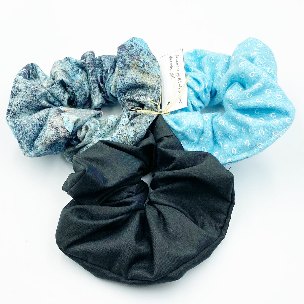 Hair Scrunchie Sets, Aqua Blue & White, Blue Patterned and Black