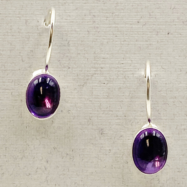 Cabochon Small Oval Gemstone and Sterling Silver Drop Earrings, Amethyst