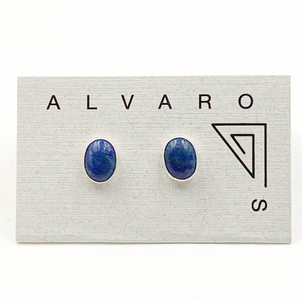 Cabochon Small Oval Gemstone and Sterling Silver Stud Earrings, Lapis Lazuli