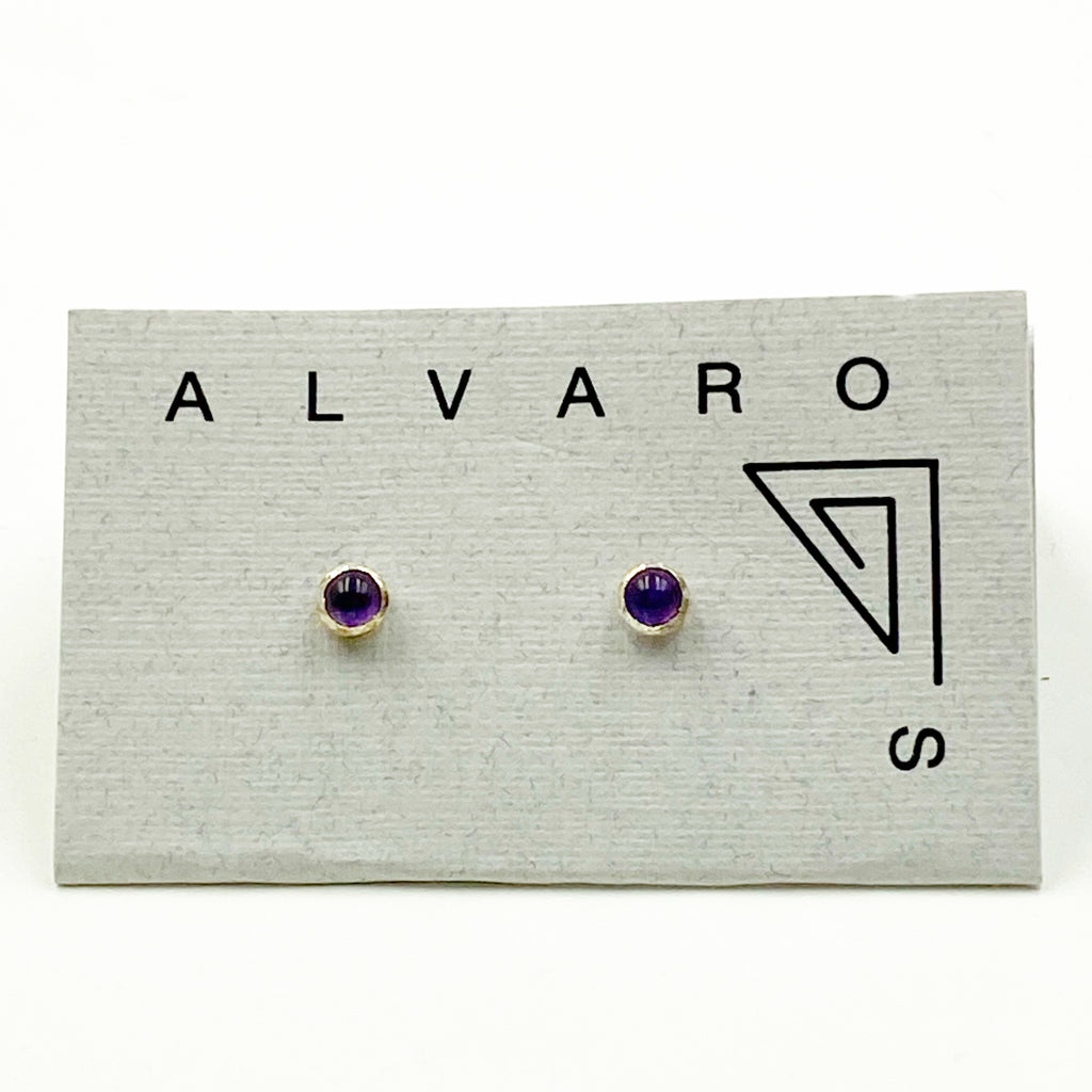 Cabochon Tiny Round Gemstone and Sterling Silver Stud Earrings, Amethyst