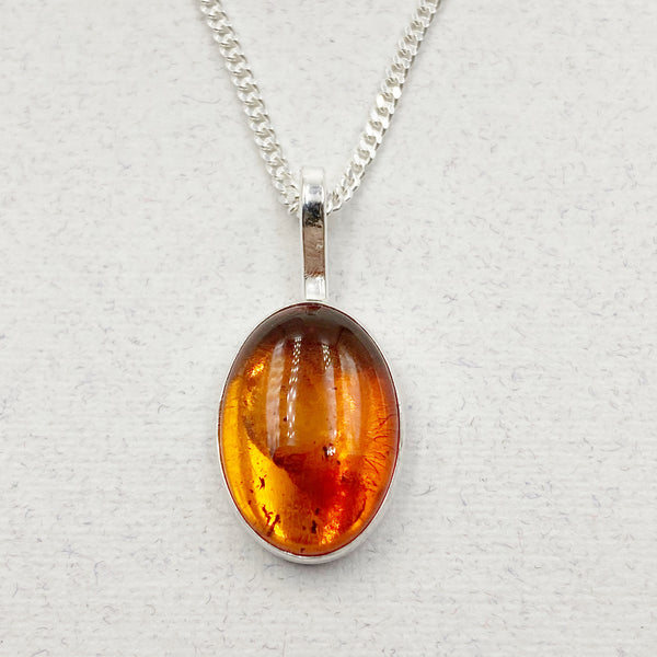 Cabochon Medium Oval Gemstone and Sterling Silver Pendant Necklace, Amber