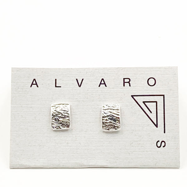 Sterling Silver Reticulated Rectangular Stud Earrings, Small