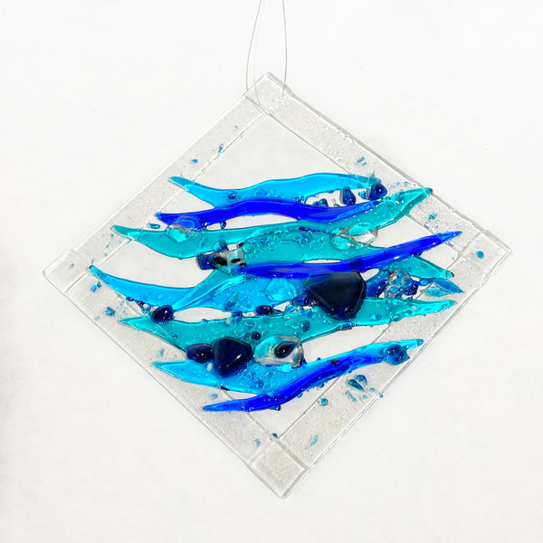 Fused Glass with Clear Bubble Border and Ocean Design, 7 x 7 inches