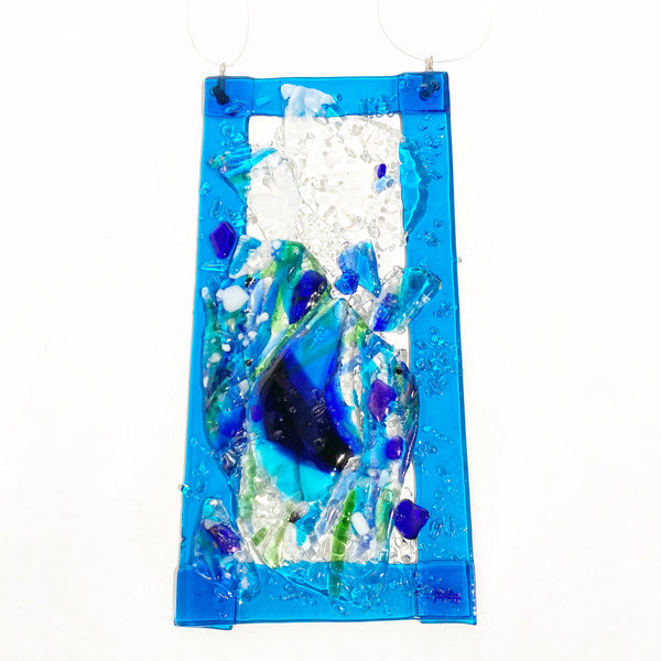 Fused Glass with Bright Blue Border and Ocean Design, 6 x 12 inches