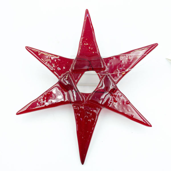 Fused Glass Coloured Star Ornament, Red