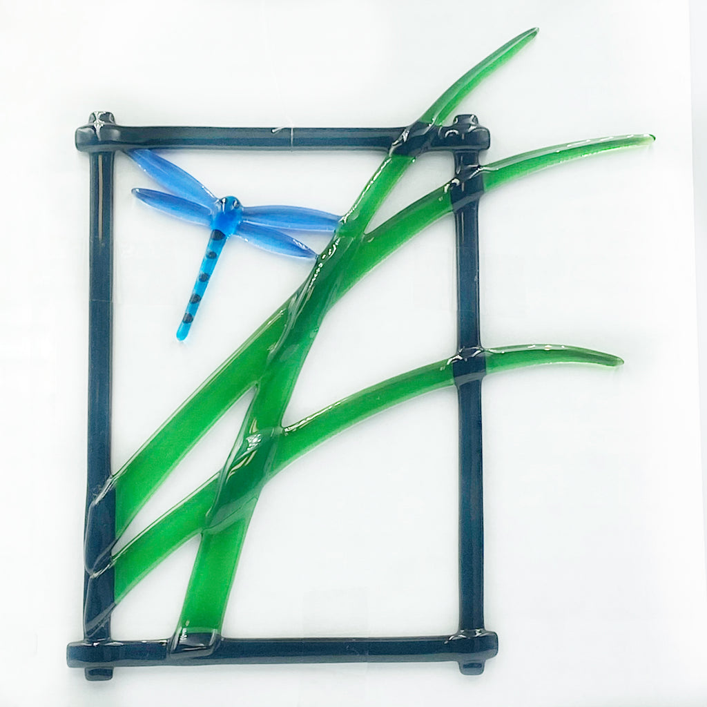 Diane Piercy's Hanging Fused Glass Art, Dragonfly - Side Street Studio