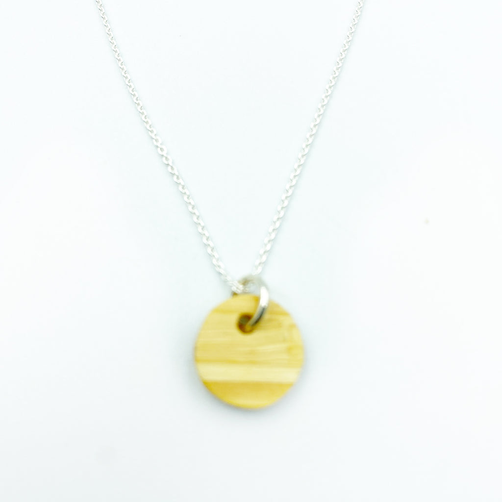 Tiny wooden coin necklace