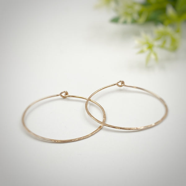 Hoop Earrings in Rose Gold, 1 1/2 inch