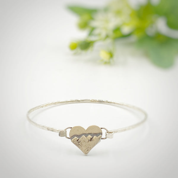 Heart Bracelet with Mountain Design