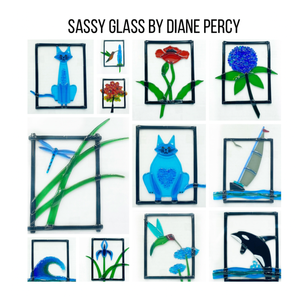 Diane Piercy's Hanging Fused Glass Art, Tall