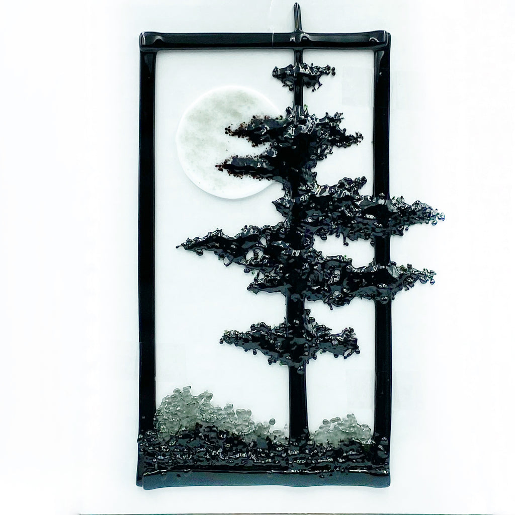 Diane Piercy's Hanging Fused Glass Art, Tall, Black Tree with Moon