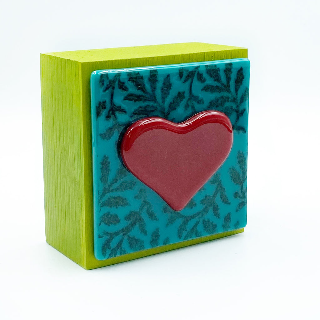 "Fused Glass Art, Red Heart, Teal Backing, 3"" x 3 """
