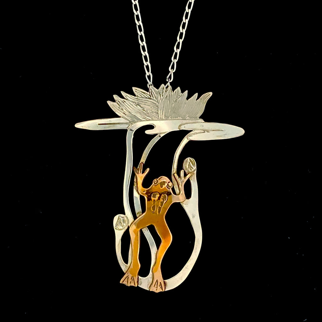 Bronze Frog with Sterling Silver Waterlily Pendant Necklace