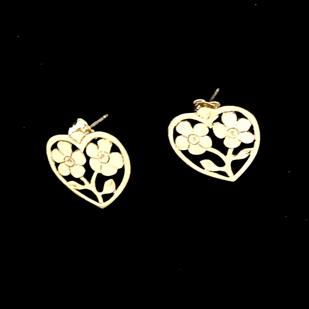 Sterling Silver Forget Me Not in Heart Design Stud Earrings